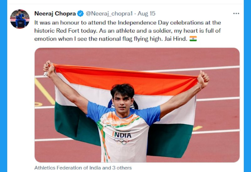 Neeraj Chopra India's Olympic Contingent at Red Fort