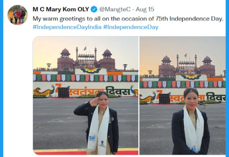 M C Mary Kom India's Olympic Contingent at Red Fort